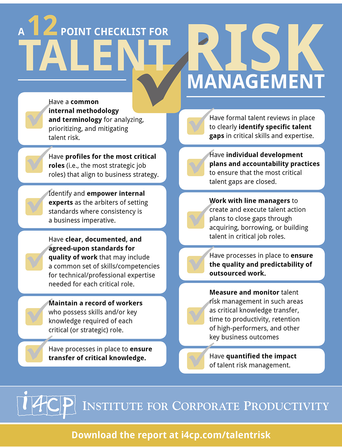 Infographic 12 Steps To Manage Talent Risk I4cp