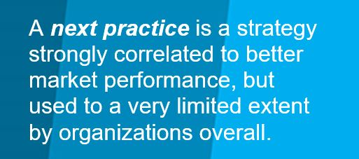 Text Box A next practice is a strategy strongly correlated to better market performance but used to a very limited extent by organizations overall