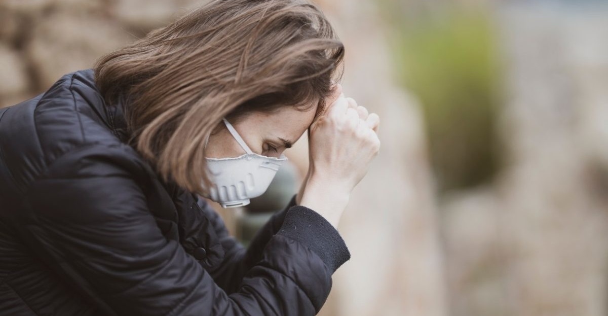 Woman stressed with mask hero